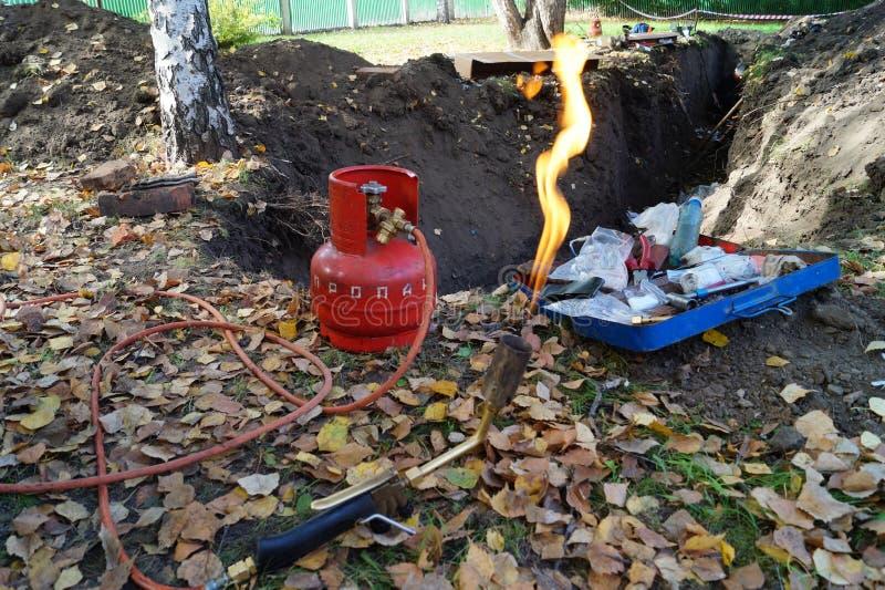 Bruciatore a gas con il cilindro fotografia stock libera da diritti
