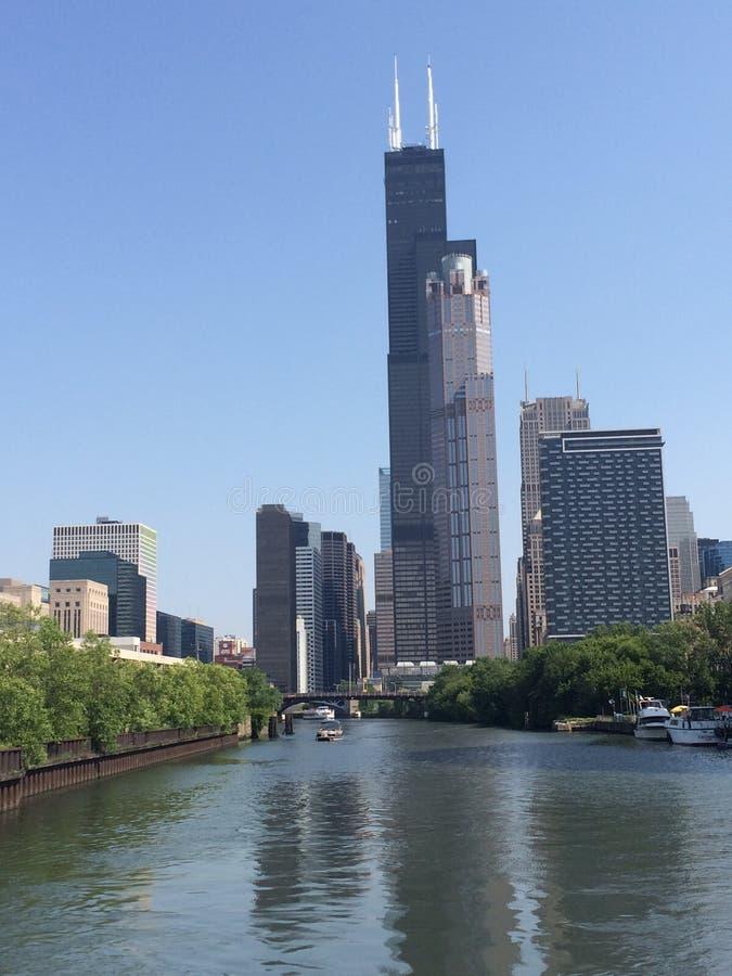 Bruciature o Willis Tower Chicago fotografia stock libera da diritti