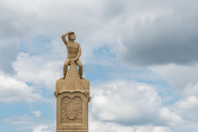 Bruckmandl statua na Kamiennym moscie w Regensburg, Niemcy zdjęcie royalty free