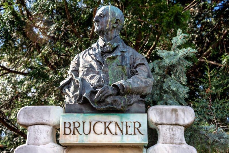 Bruckner-Büste in Stadtpark, Wien stockbild