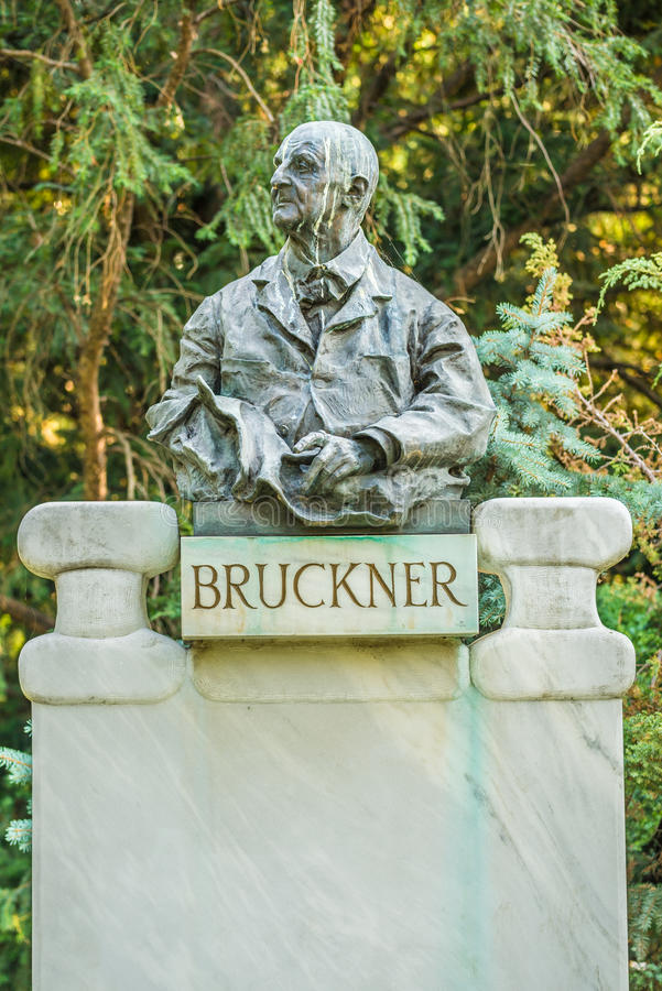 Bruckner bust in Stadtpark, Vienna. Anton Bruckner was an Austrian composer known for his symphonies, masses, and motets royalty free stock photos
