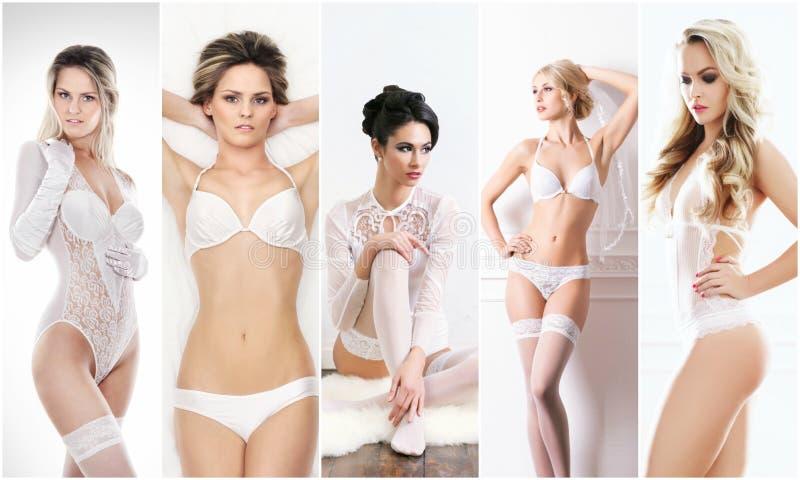 Brud- damunderklädersamling Härliga och sexiga kvinnor för barn som, poserar i den vita underkläderna mot barn för fjäder för bak arkivbild