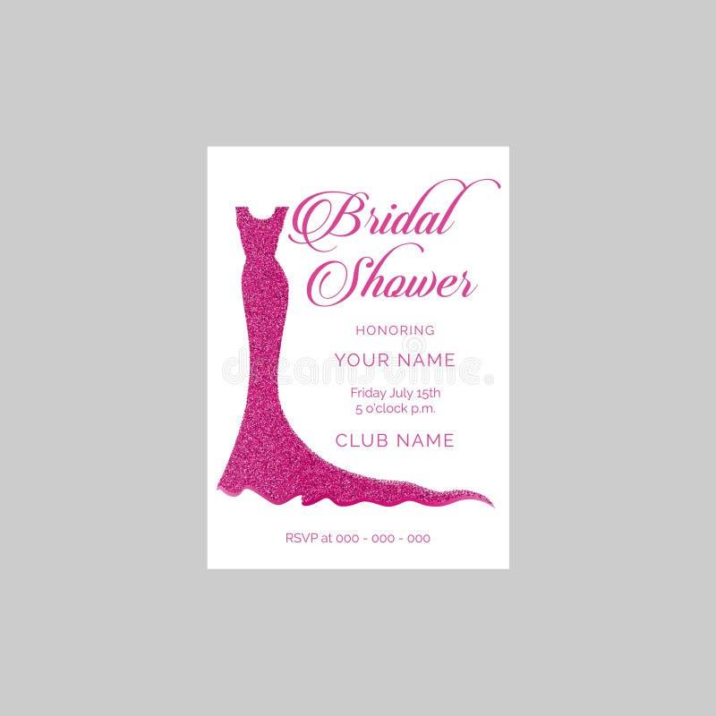 Brud- dusch med den glittery klänningvektorinbjudan royaltyfri fotografi