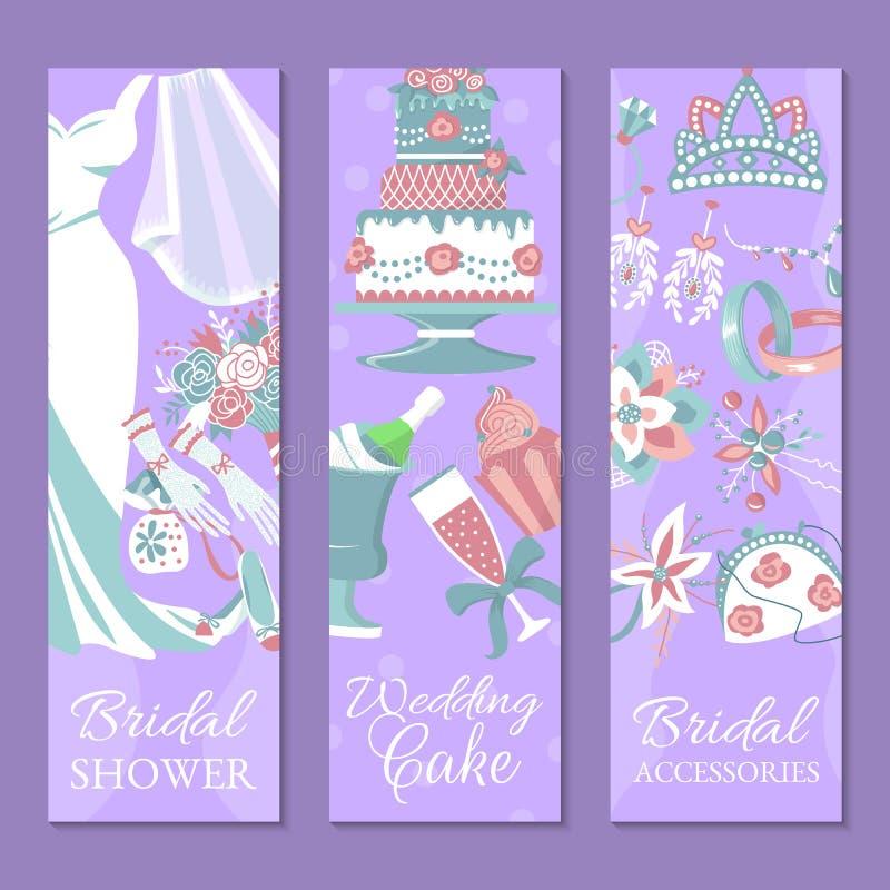 Brud- duschuppsättning av banervektorillustrationen datumet sparar bröllop för 8 pie Gifta sig tillbehör liksom blomman stock illustrationer