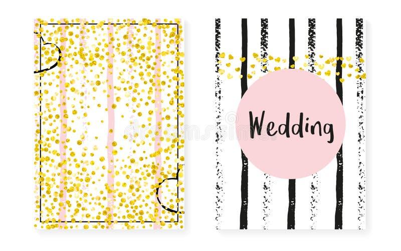 Brud- duschuppsättning med prickar och paljetter Bröllopinbjudankortet med guld blänker konfettier stock illustrationer