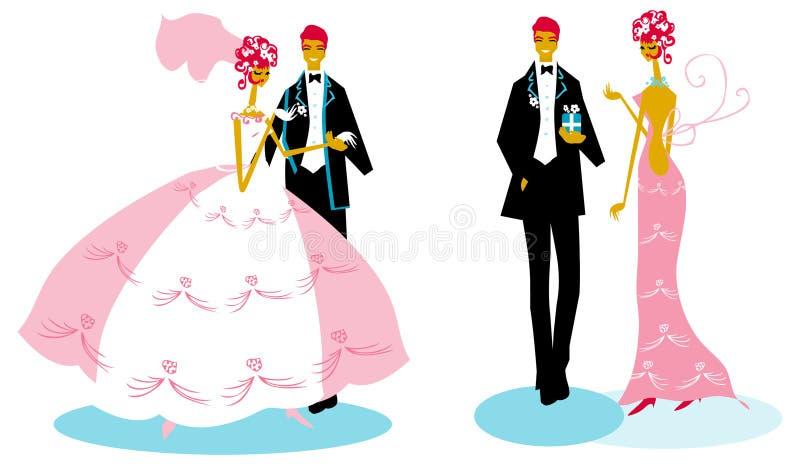 Brud för kvinna för gruppbröllopman vektor illustrationer