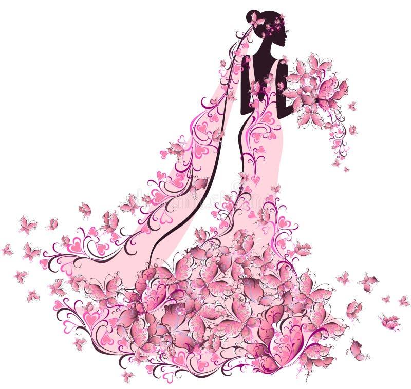 Brud i blom- klänning med fjärilen vektor illustrationer