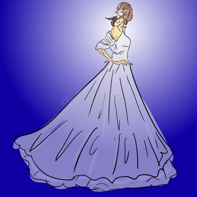 Brud i bröllopdresswithbukett stock illustrationer