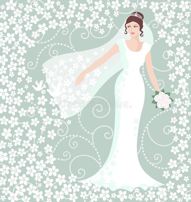 Brud i den vita bröllopkappan royaltyfri illustrationer
