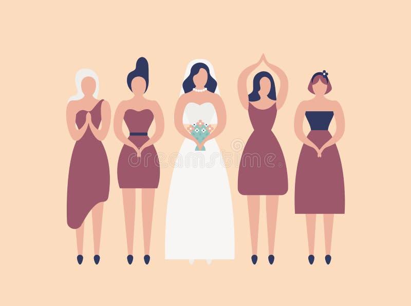 Brud i elegant vit kappa och brudtärnor som isoleras på ljus bakgrund Grupp av gulliga flickor som firar bröllopdag eller vektor illustrationer
