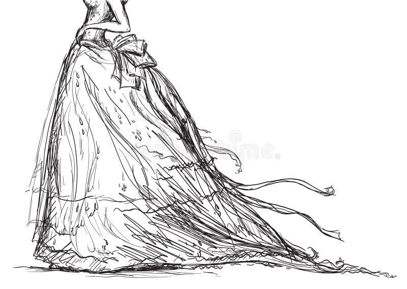 brud- klänningteckning royaltyfri illustrationer