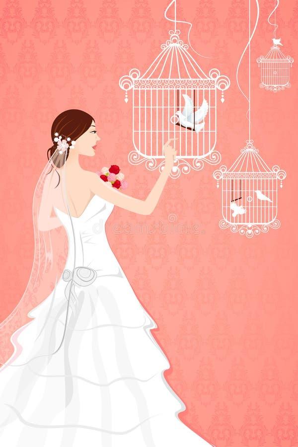 Brud med fågelburen royaltyfri illustrationer