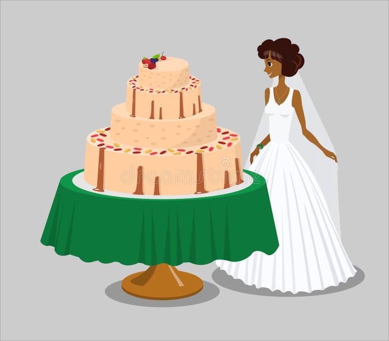 Brud nära rosa bröllopstårtavektorillustration stock illustrationer
