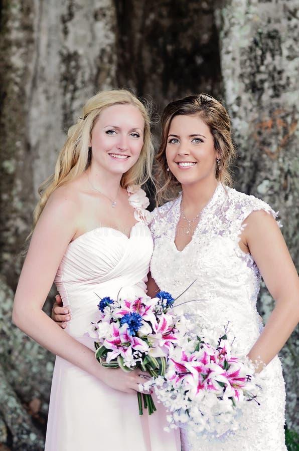 Brud och Bridemaid royaltyfri foto