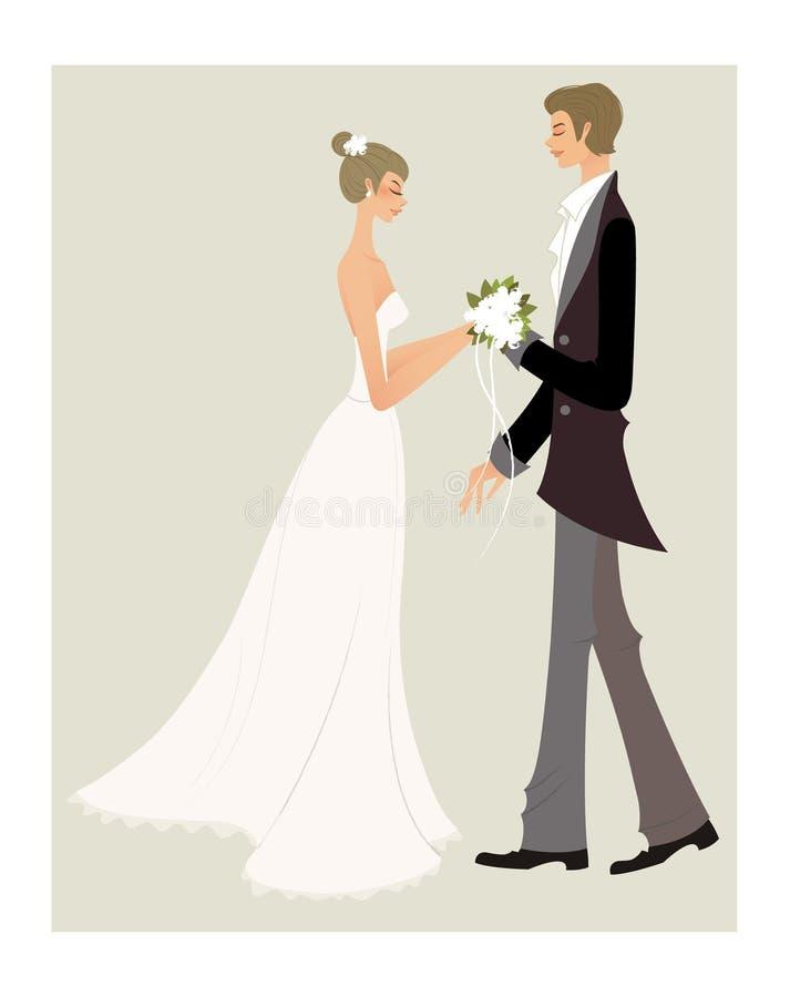 Brud och brudgum royaltyfri illustrationer