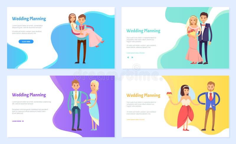 Brud och brudgum, bröllopplanläggning, vigselvektor vektor illustrationer