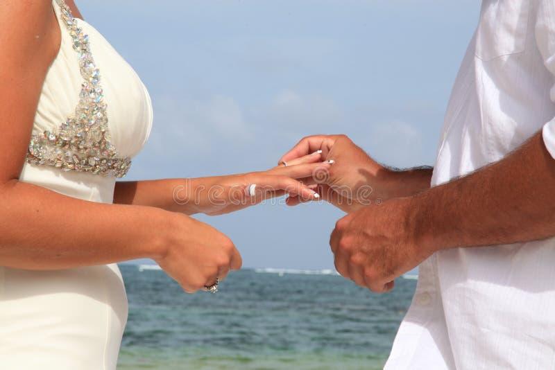 Brud och brudgum Exchanging Wedding Vows royaltyfria foton