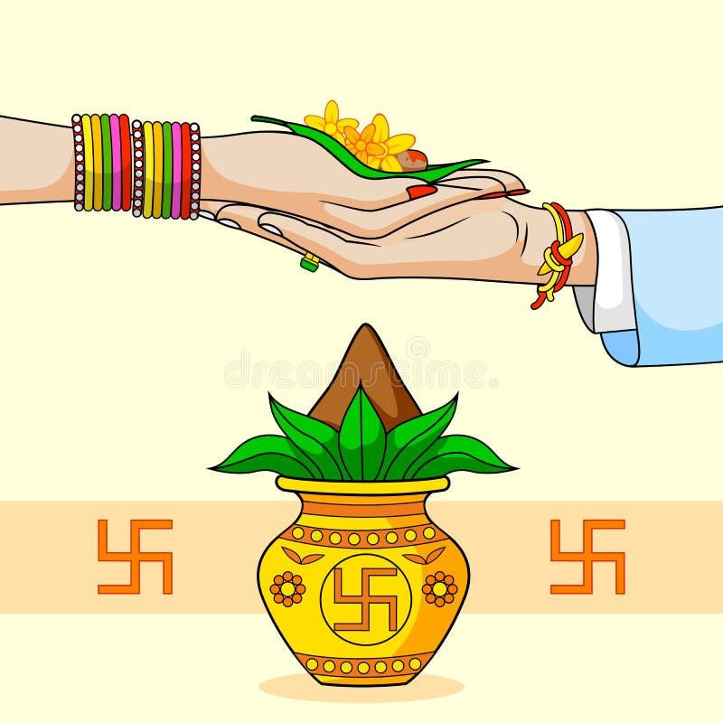 Brud och brudgum i indiskt hinduiskt bröllop royaltyfri illustrationer