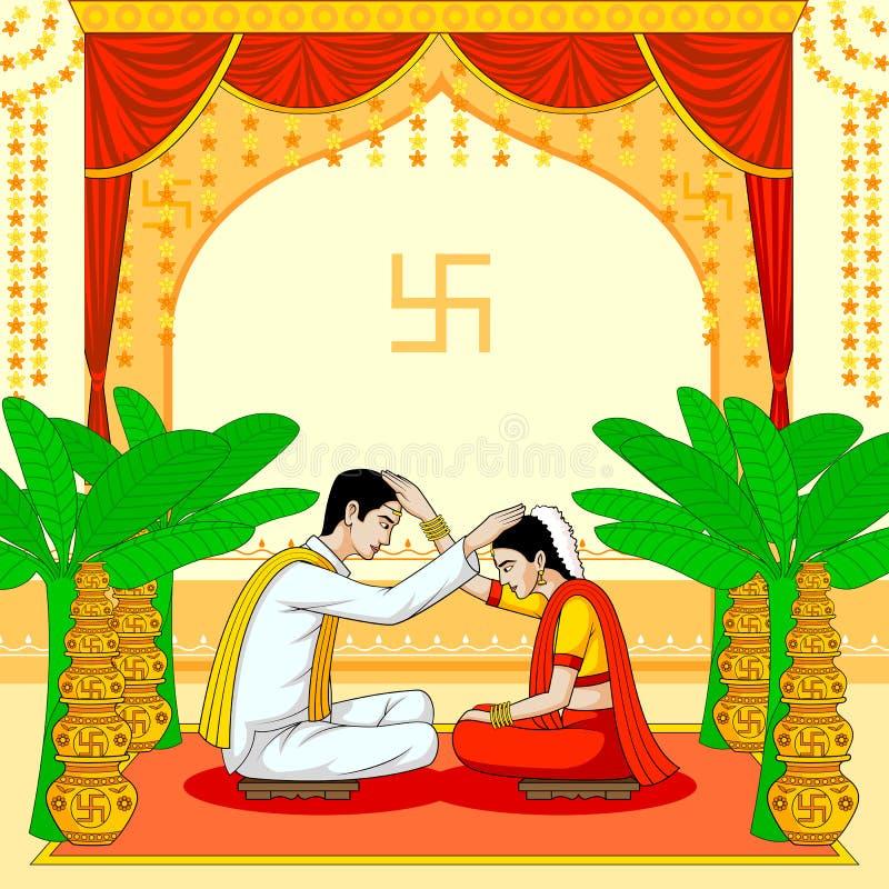 Brud och brudgum i indiskt hinduiskt bröllop vektor illustrationer