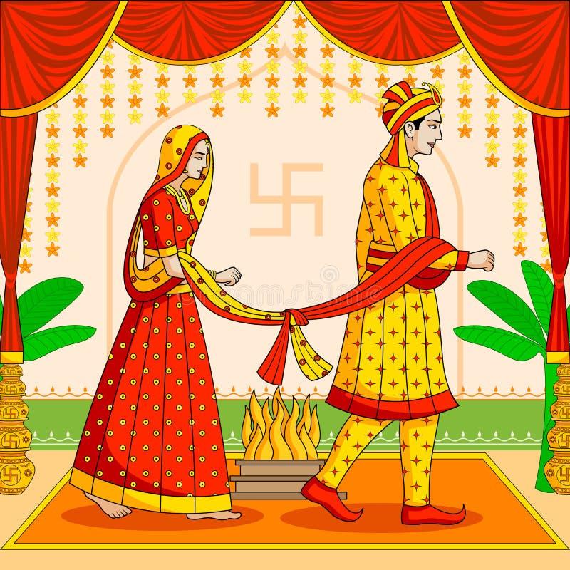 Brud och brudgum i indiskt hinduiskt bröllop stock illustrationer