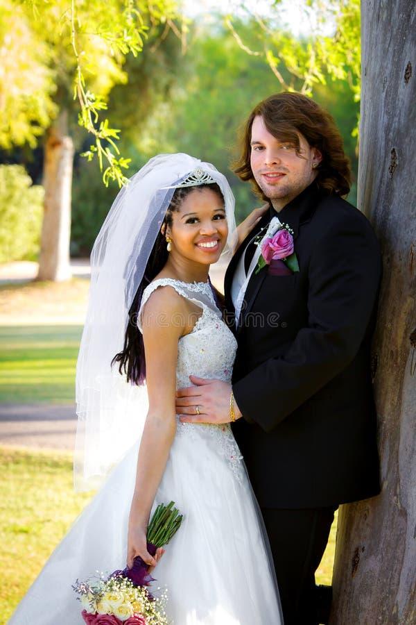 Brud och brudgum Lean On Tree royaltyfria foton