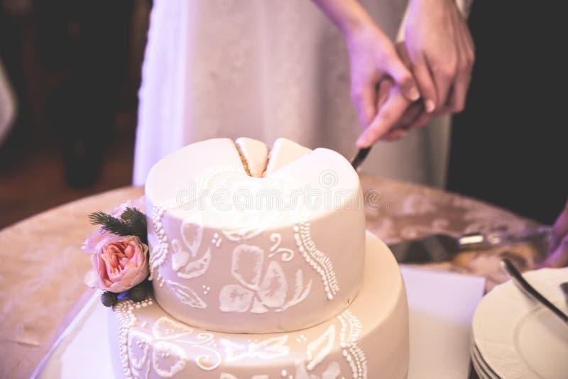 Brud och brudgum nära bröllopstårtan royaltyfri foto