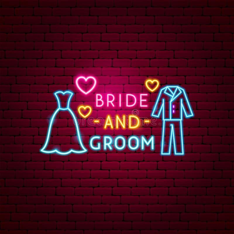 Brud och brudgum Neon Label vektor illustrationer