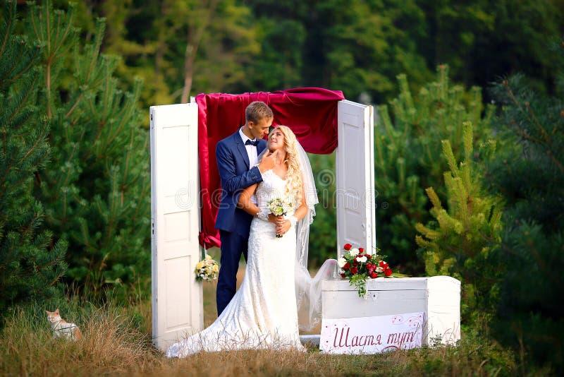 Brud och brudgum på bröllopdagen som utomhus går på naturen Brud- par, den lyckliga nygift personkvinnan och mannen som omfamnar  arkivfoto