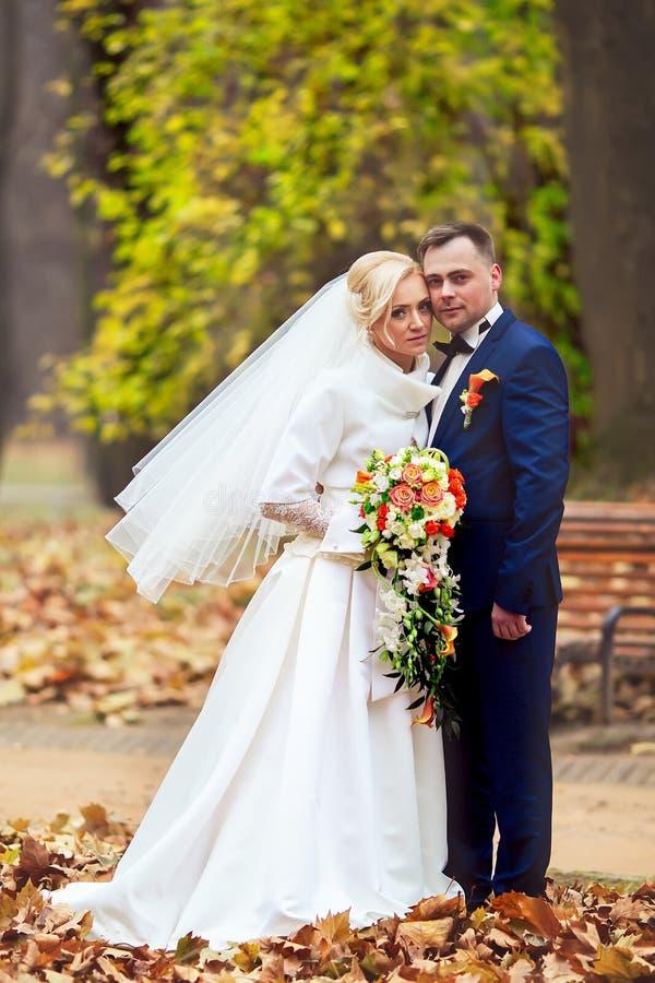 Brud och brudgum på bröllopdagen som utomhus går på vårnaturen Brud- par, lycklig nygift personkvinna och man som omfamnar i gräs arkivbild
