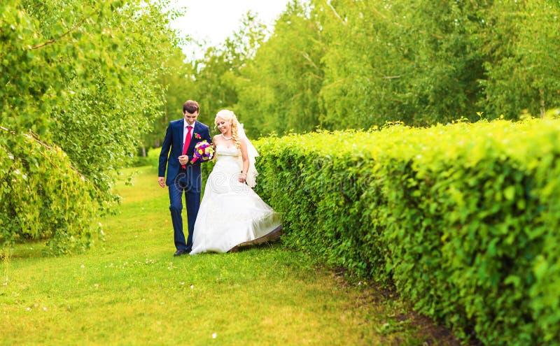 Brud och brudgum på bröllopdagen som utomhus går på vårnaturen Brud- par, lycklig nygift personkvinna och omfamna för man arkivbild