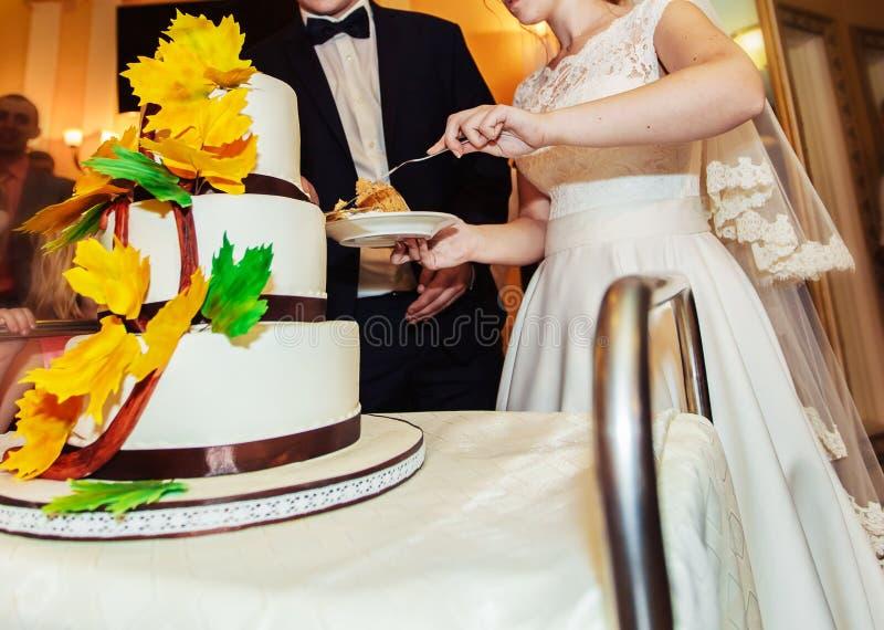 Brud och brudgum på bröllopmottagandet som klipper bröllopstårtan arkivfoto
