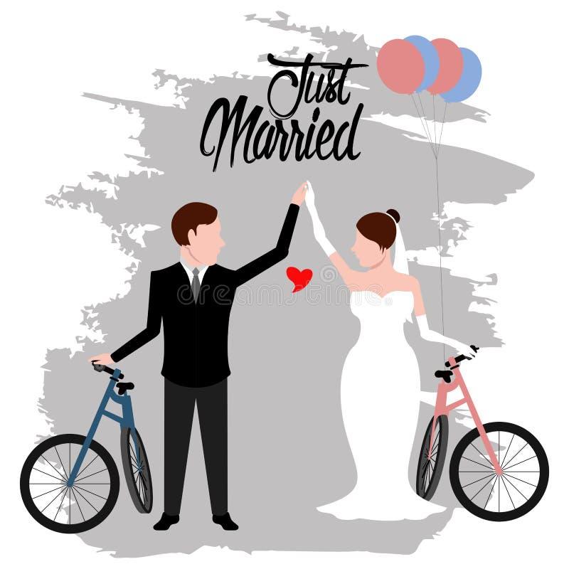 Brud och brudgum på cyklar par som att gifta sig bara royaltyfri illustrationer