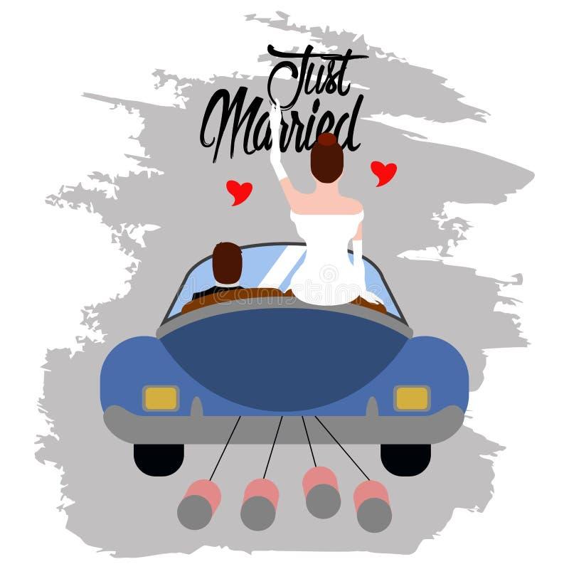 Brud och brudgum på en bil par som att gifta sig bara stock illustrationer