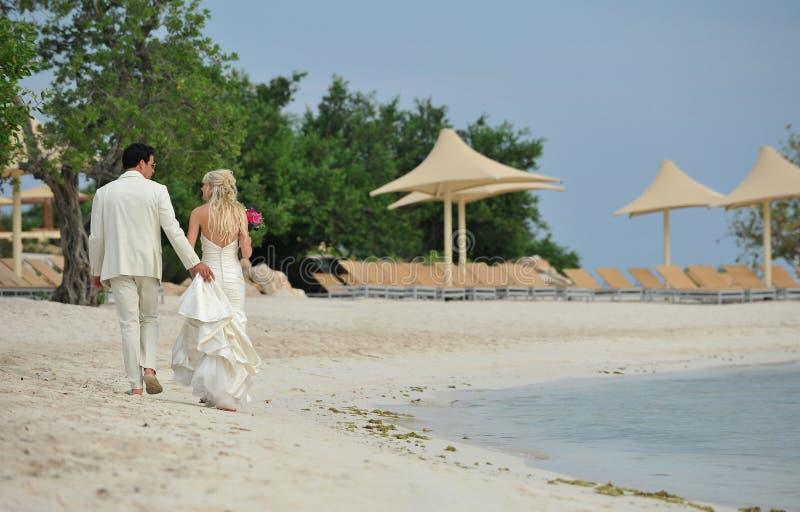 Brud och brudgum som går på den karibiska stranden royaltyfri foto