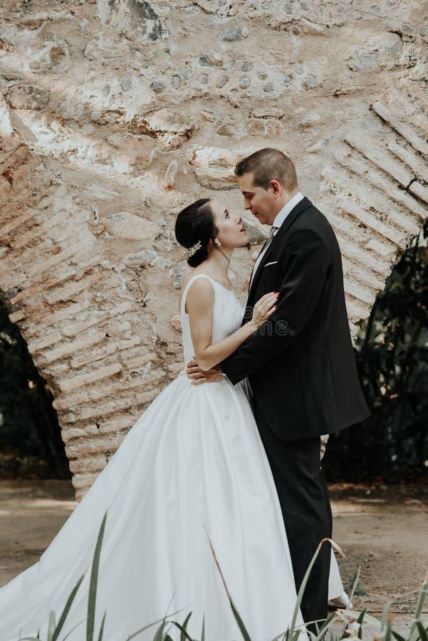Brud och brudgum som kramar i parkera arkivbild