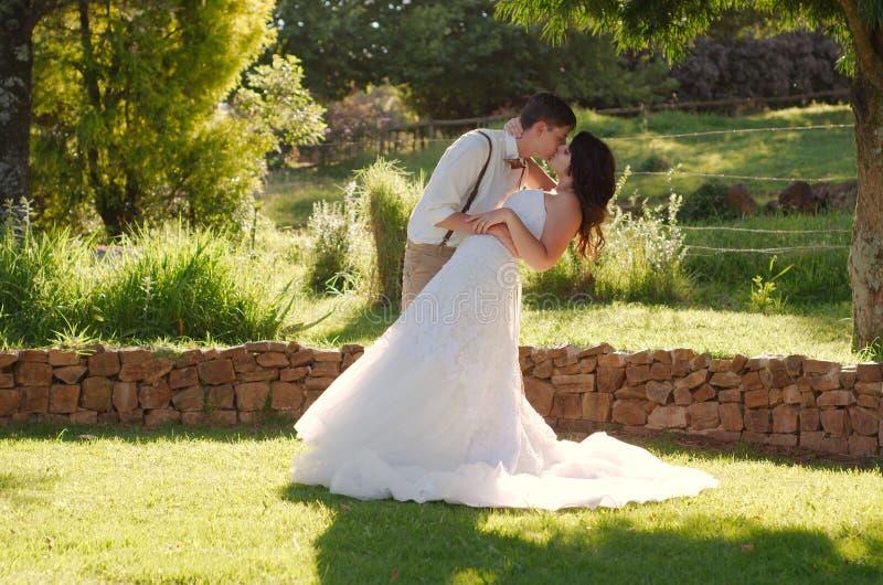 Brud och brudgum som kysser i trädgårds- bröllop royaltyfri bild