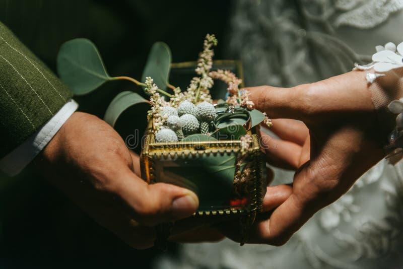 Brud och brudgum som rymmer händer och härlig vigselring på hennes hand Romantiska par som rymmer sig hand för ` s på royaltyfria bilder