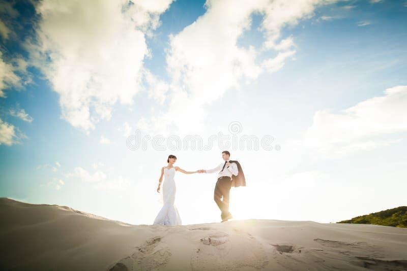 Brud- och brudguminnehavhänder och spring till och med sanden på th arkivfoto
