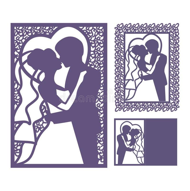 Brud- och brudgumsilhouette Laser-snittinbjudan stock illustrationer