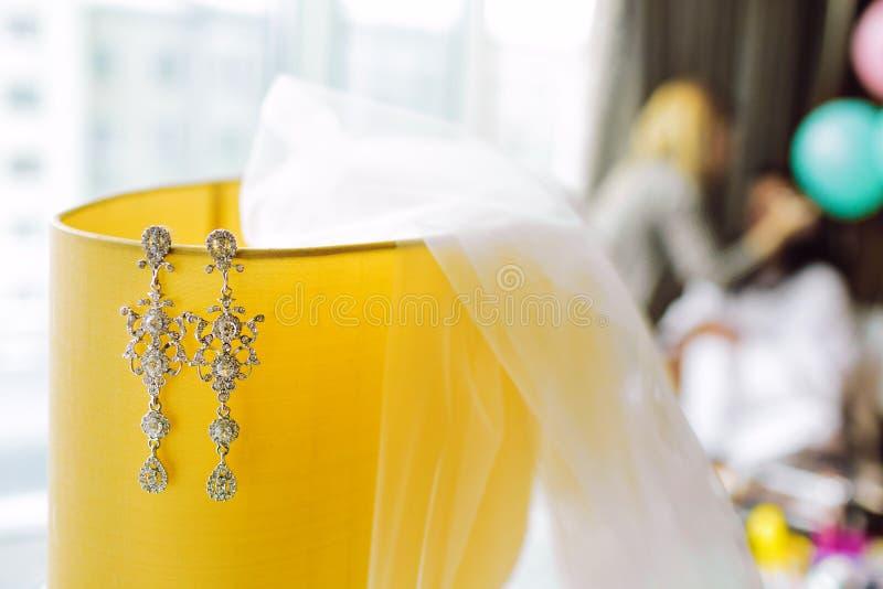 Brud- skyla och långa silverörhängen med diamanter arkivbilder