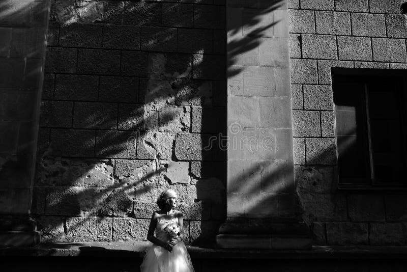 Brud som poserar på bakgrund för stenvägg arkivfoton