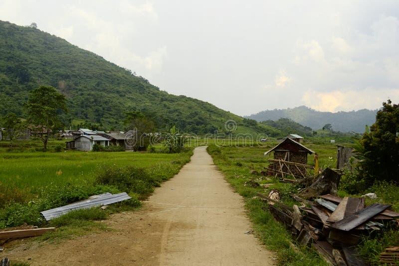 Brud wiejska droga w ma?ej wietnamczyk wiosce zdjęcia stock