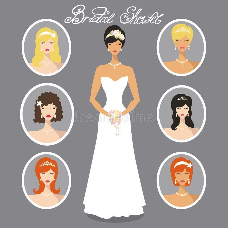 Brudbilduppsättning Olik bröllopfrisyr vektor illustrationer