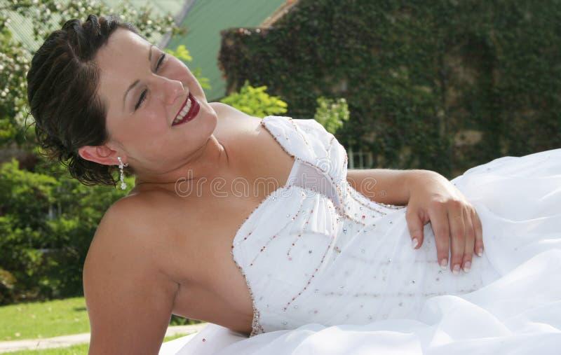 bruddag henne bröllop royaltyfri fotografi