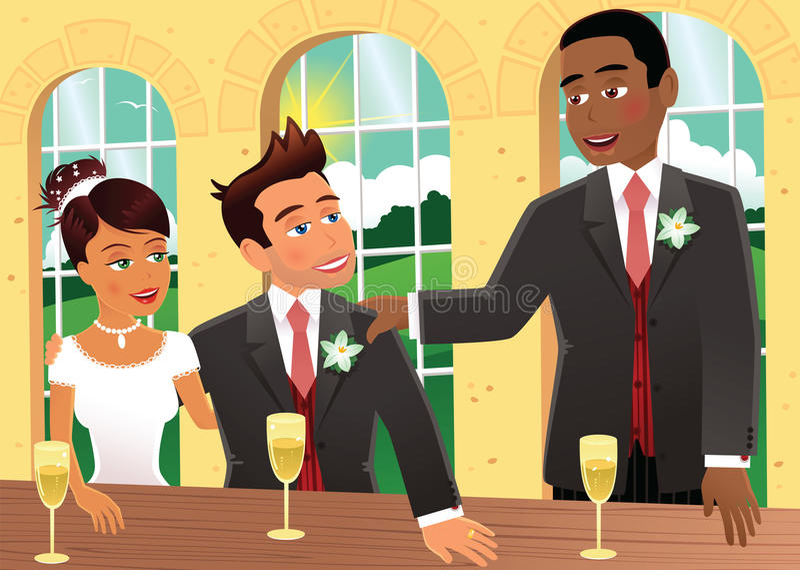 Bruden brudgummen och den bästa mannen stock illustrationer