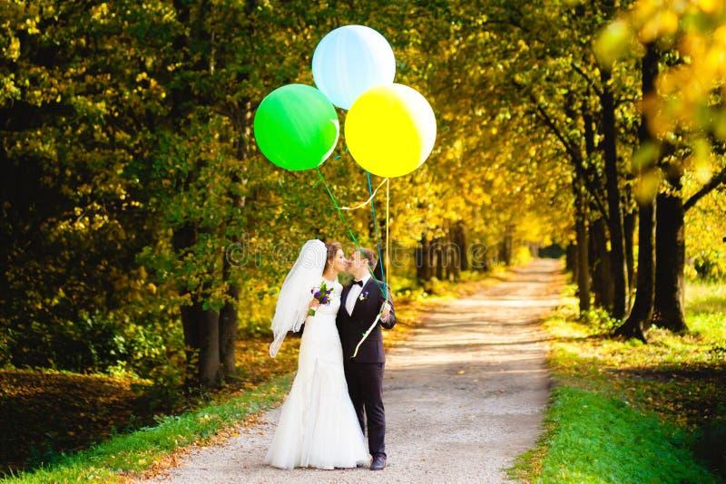 Bruden och brudgummen är kyssande på bänken med ballonger arkivbilder