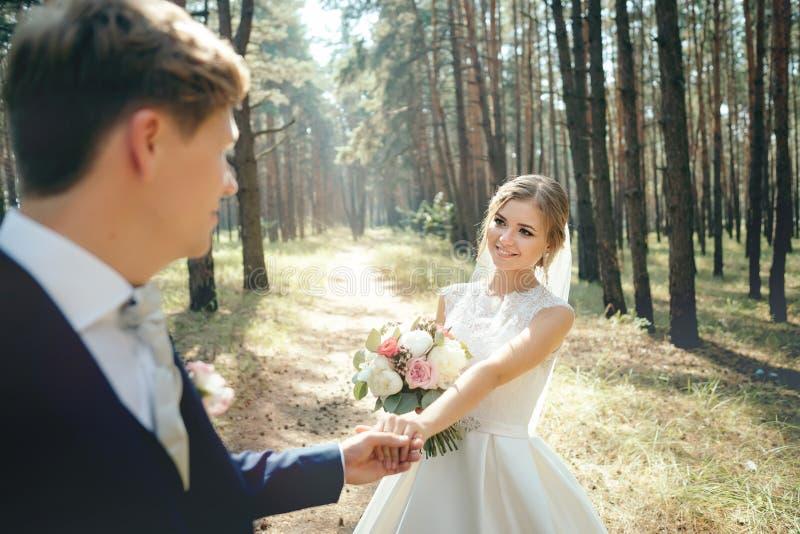 Bruden och brudgummen i bröllopsklänningar på naturlig bakgrund bröllop för tappning för klädpardag lyckligt Nygifta personer går arkivfoton