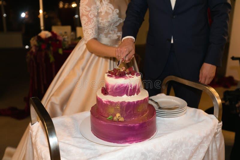 Bruden och brudgummen klippte tillsammans bröllopstårtan royaltyfri foto