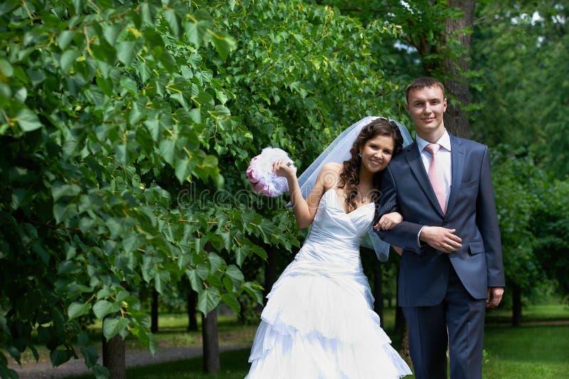 Bruden och brudgummen parkerar in royaltyfria foton