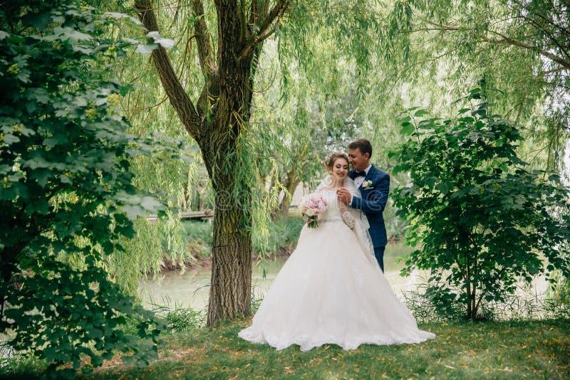 Bruden och brudgummen poserar mot bakgrunden av träd och ett damm En man kramar hans älskling bakifrån och rymmer royaltyfri foto